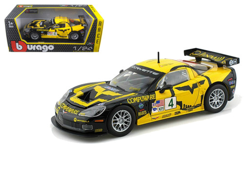 Chevrolet Corvette CBR #4 Yellow 1/24 Scale Diecast Car Model By Bburago 28003