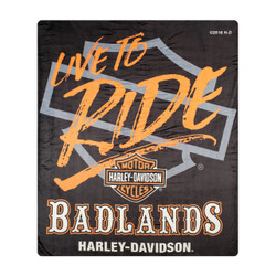 "Badlands Harley Davidson® ""Live to Ride"" Silk Touch Throw Blanket"