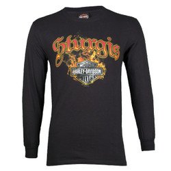Sturgis Harley-Davidson® Men's Skull Edgy Black Long Sleeve T-Shirt