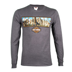 Badlands Harley-Davidson® Men's Shield Scene Charcoal Long Sleeve Shirt