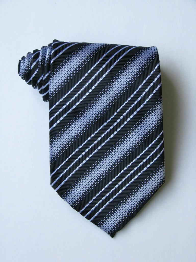 3 Versus1 White Stripe Black Background Tie