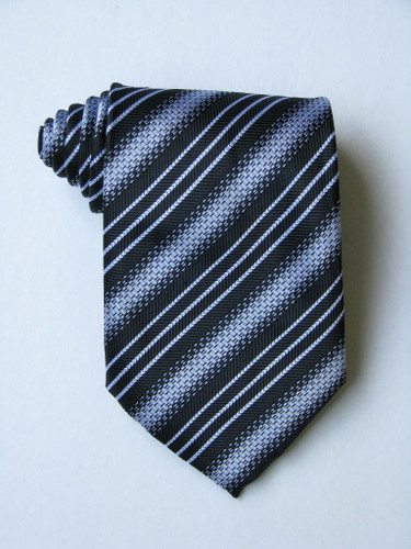 3 Versus1 White Stripe Black Background Tie