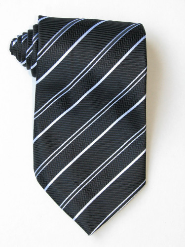 2 Versus1 White Stripe Black Background Tie