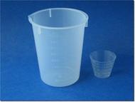 (1) Graduated Measure Cup -- 400ml (12oz) Plastic Beaker & (1) 30ml Plastic Beaker Cup