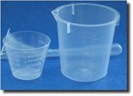 (1) Graduated Plastic Measuring Cup - 3oz / 100ml & Plastic Beaker - 1oz/30ml