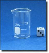 (1) Beaker - Glass - Graduated - Low Form - Pyrex - 30mL