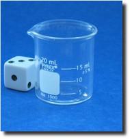 (1) Beaker - Glass - Graduated - Low Form - Pyrex - 20mL