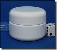 White Double Wall Plastic Jars - Lid Foam Liner - 1oz (29.5ml)