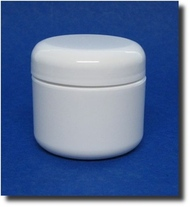 White Double Wall Plastic Jars - Lid Foam Liner - 2oz (60ml)
