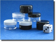 Plastic 3ml (3gm) jars for samples with clear lids, white lids and black lids
