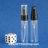 Atomizer - Clear Glass - Black Sprayer - 1/6oz (5mL)