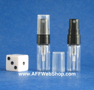 Atomizer - Clear Glass - Black Sprayer - 3ml