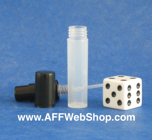Photo of 2ml plastic atomizer with black pump and cap that screw onto the clear bottle