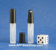 Photo of 2ml plastic atomizer with black pump and cap that screw onto the clear bottle with cap off