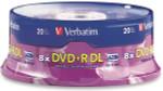 Verbatim DVD+R DL 8.5GB 8X Dual Layer Branded, 20-Pack