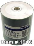 Philips CD-R 80 White Inkjet Hub Printable, 100-Pack