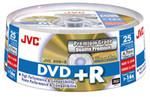JVC Premium DVD+R 16X Gold Lacquer Branded, 25-Pack