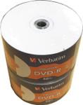 Verbatim DVD-R 16X White Inkjet Hub Printable,100-PK (97167-100)