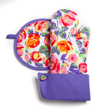 Grandway Oven Mitt + Hot Pad Pot holders Violet PURPLE ROSES flower gift -