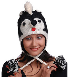 Animal Face Hat Black White SKUNK Wool Beanie Winter Ski Cap ADULT Warm Gift