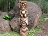 "STACKED TIKI KU & KANE 48"" - ACACIA WOOD - GARDEN DECOR"