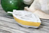 """NAUTICAL BOAT W/ PADDLE"" YELLOW COASTAL 8"" - HAND CARVED - COASTAL DECOR"