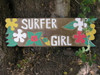 "Surfer Girl Sign w/ Plumeria 24"" - Hand Carved/Painted 