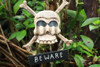 """BEWARE"" SKULL AND BONES SIGN - CROSS BONES DECOR"