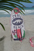 """SEAL BEACH"" SURF SIGN W/ FIN 14"" - SURFING DECOR"
