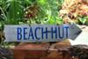 """Beach Hut"" Driftwood Sign 20"" - Tiki Bar Decor"