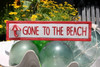"""""""GONE TO THE BEACH"""" NAUTICAL SIGN 12"""" RED - BEACH DECOR"""