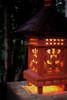 "BALINESE LANTERN W/ SHINGLE ROOF TOP & GLASS - 20"""