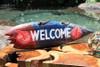 """""""Welcome"""" Shark Bite Surf Sign - 20"""" - Beach Decor"""