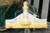 """LIGHTHOUSE"" HANGER - 12"" WHITE & YELLOW NAUTICAL DECOR"