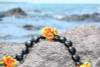 Large Kukui Nut with Lantern Ilima Black/Orange - Silk Hawaiian Leis