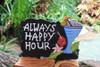 """Always Happy Hour"" with Cocktail Sign - Black - Tiki Bar Decor"