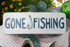"""GONE FISHING"" BEACH SIGN 14"" - RUSTIC WHITE & BLUE - COASTAL DECOR"