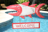 """WELCOME"" SHARK ATTACK SIGN 15"" RED - NAUTICAL DECOR"