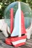 """SAILBOAT"" PAPER TOWEL HOLDER RED 16"" - NAUTICAL DECOR"