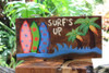 """Surf's Up"" On the Beach Surfboards Sign - Beach Decor"