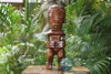 """Fisherman's Good Luck Tiki Totem 12"""" Stained - Tropical Decor"""