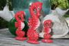 Seahorses Set of 3 - Rustic Red Nautical Decor | #ort17009s3r