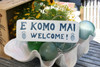 """E KOMO MAI, WELCOME"" COTTAGE SIGN 14"" - RUSTIC WHITE & BLUE - COASTAL DECOR"
