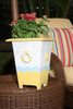 "PLANTER NAUTICAL DECOR 12"" - YELLOW & WHITE NAUTICAL DECOR"