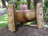 "Scorpion Tiki Bowl 12"" Natural - Wooden Carved 