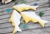 "HANGING ""FISH"" SET OF 3 - YELLOW COASTAL - NAUTICAL DECOR"
