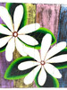 """Tiare Flower Painting on Wood Planks 16"""" X 16"""" Rustic Wall Decor 