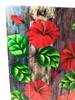 "Hibiscus Flower Painting on Wood Planks 24"" X 24"" Rustic Wall Decor 