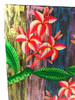 "Plumeria Flower Painting on Wood Planks 24"" X 24"" Rustic Wall Decor 