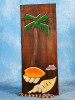"""""""PALM & SEA SHELLS"""" RELIEF - 12"""" CARVED & PAINTED - COASTAL DECOR"""